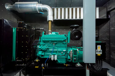 Diesel generator set in container enclosure